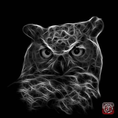 Digital Art - Greyscale Owl 4436 - F M by James Ahn