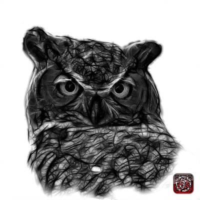 Digital Art - Greyscale Owl 4436 - F S M by James Ahn