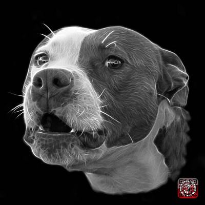 Mixed Media - Greyscale Pitbull Dog 7769 - Bb - Fractal Dog Art by James Ahn
