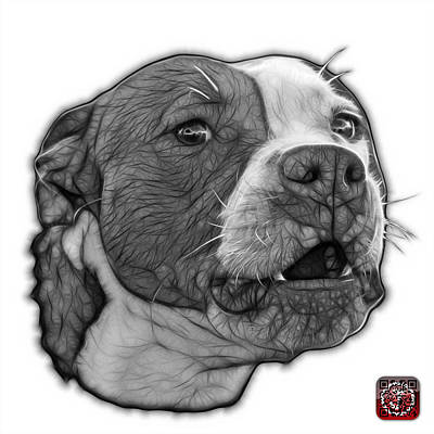 Mixed Media - Greyscale Pitbull Dog Art - 7769 - Wb - Fractal Dog Art by James Ahn