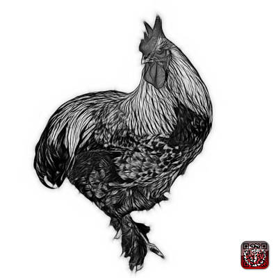 Painting - Greyscale Rooster - 3166 Fs by James Ahn