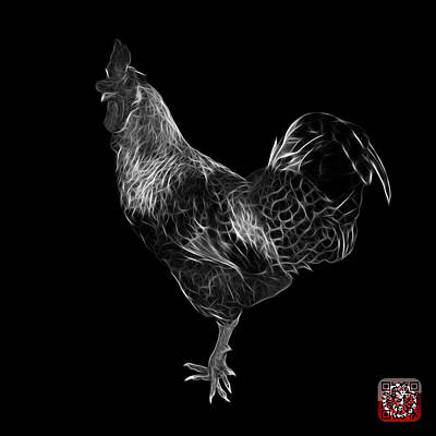 Digital Art - Greyscale Rooster 3186 F by James Ahn