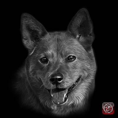 Mixed Media - Greyscale Shiba Inu Dog Art - 8555 - Bb by James Ahn