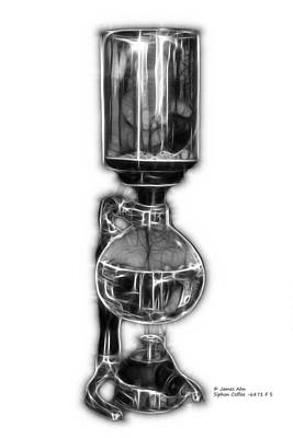 Digital Art - Greyscale Siphon Coffee 6781 F S by James Ahn