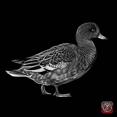 Mixed Media - Greyscale Wigeon Art - 7415 - Bb by James Ahn