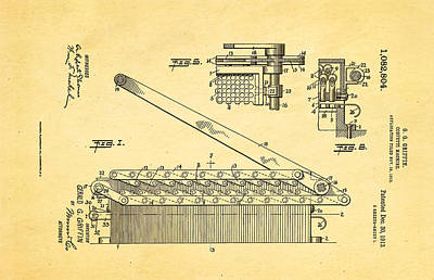 Griffin Confetti Maker Patent Art 1913 Print by Ian Monk