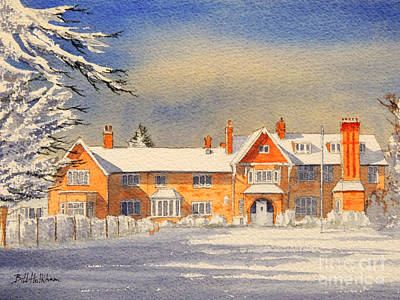 Snow Scene Painting - Griffin House School - Snowy Day by Bill Holkham