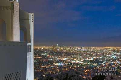 Photograph - Griffith Observatory L.a. Skyline Cityscape Night Dusk by David Zanzinger
