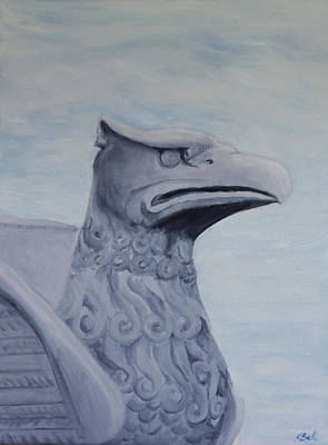 Statue Portrait Painting - Griffon Statue by Kathryn Bell