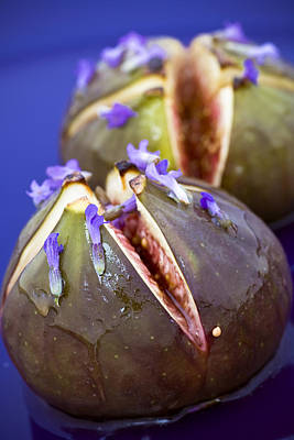 Food And Beverage Royalty-Free and Rights-Managed Images - Grilled Figs With Lavender Honey by Frank Tschakert