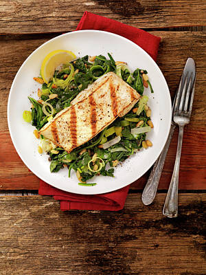 Grilled Halibut With Spinach, Leeks And Art Print by Lauripatterson