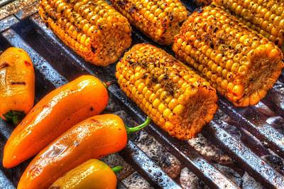 Photograph - Grilling Corn And Peppers by Roger Passman