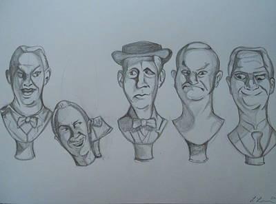 Haunted Mansion Drawing - Grim Grinning Ghosts Singing Busts by Lisa Leeman