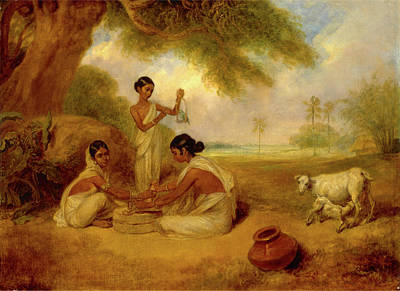 Corn Painting - Grinding Corn, Arthur William Devis, 1762-1822 by Litz Collection