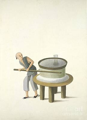 Grinding Flour, 19th-century China Art Print by British Library