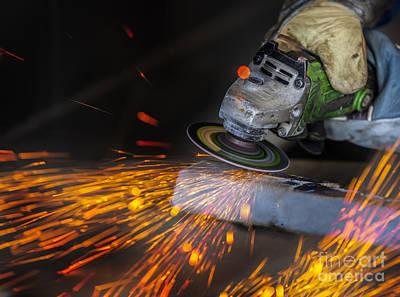 Grinding In A Steel Factory  Art Print