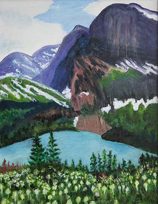 Painting - Bear Grass In Glacier Park by Lucille  Valentino