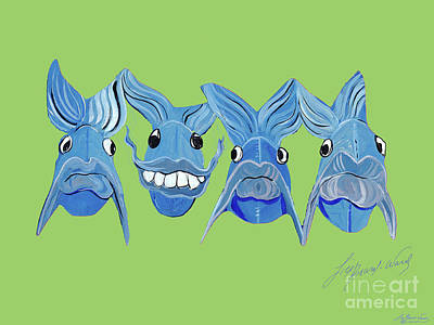 Painting - Grinning Fish by Lizi Beard-Ward