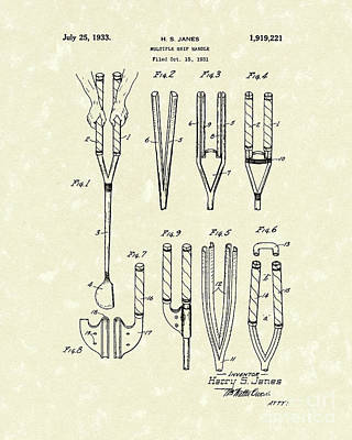 Golf Drawing - Grip Handle 1933 Patent Art by Prior Art Design