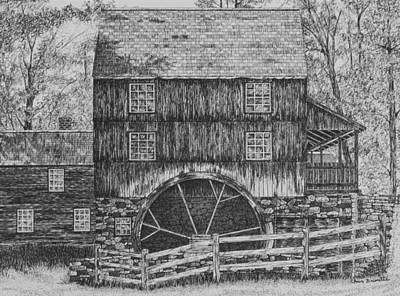 Grist Mill Drawing - Grist Mill by Christine Brunette