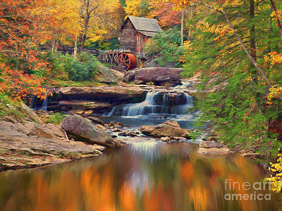 Grist Mill Painting - River Grist Mill In Autumn Forest by Accelerated Vision Photography
