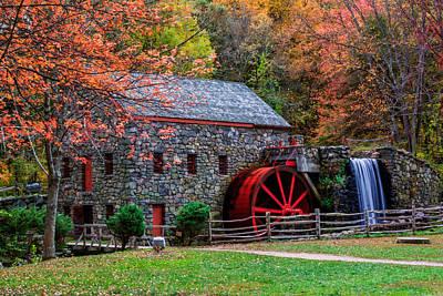 Grist Mill In Autumn Art Print by Laura Duhaime