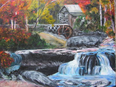 Grist Mill Painting - Grist Mill In West Virginia by Lucille  Valentino