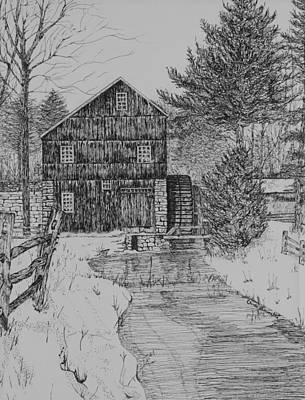 Grist Mill Drawing - Grist Mill In Winter by Christine Brunette