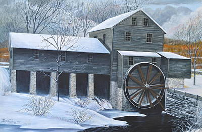 Grist Mill In Winter Art Print by Dave Hasler