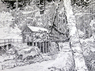 Grist Mill Drawing - Grist Mill On A Winter Night Landscape by Gary Beattie