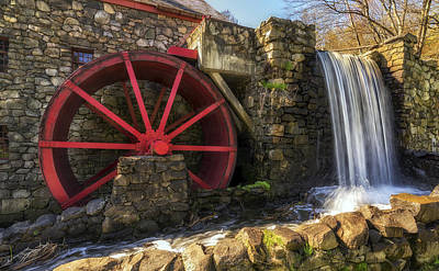 Wayside Inn Photograph - Grist Mill Waterfall by Mark Papke