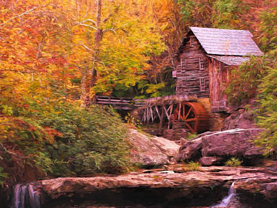 Grist Mill With Stream Art Print by Garland Johnson
