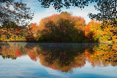 Longfellow S Grist Mill Photograph - Grist Millpond Framed by Michael Blanchette