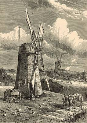 Grist Mill Drawing - Grist Windmills At East Hampton 1872 Engraving By John Karst by Antique Engravings