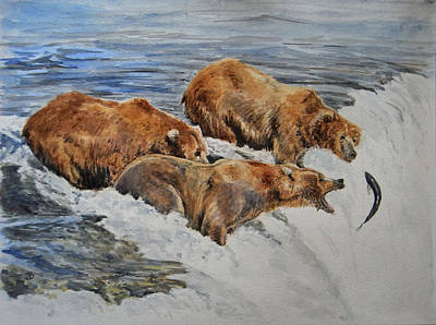 Salmon Wall Art - Painting - Grizzlies Fishing by Juan  Bosco