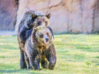 Digital Art - Grizzlies by Liz Leyden