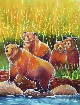 Yellowstone Painting - Grizzlies On Wapiti Creek by Harriet Peck Taylor