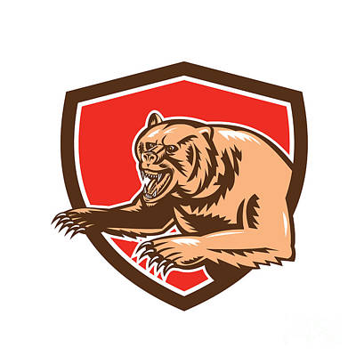 Grizzly Bear Angry Shield Retro Art Print