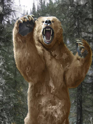 Canines Digital Art - Grizzly Bear Attack On The Trail by Daniel Hagerman