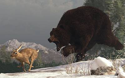 Grizzly Bear Chasing Rabbit Art Print by Daniel Eskridge