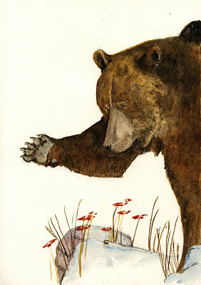Grizzly Bear Painting - Grizzly Bear First Part by Juan  Bosco