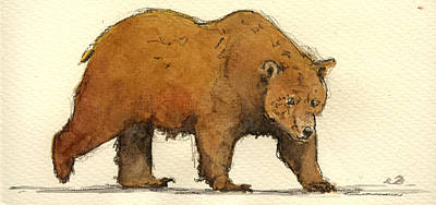 Grizzly Bear Painting - Grizzly Brown Big Bear by Juan  Bosco