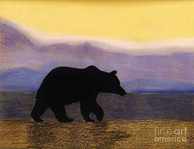 Grizzly Bears Drawing - Grizzly By The Water by D Hackett
