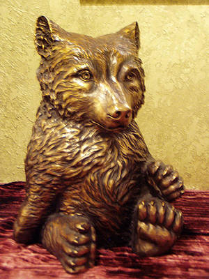 Bear Sculpture - Grizzly Cub Bronze by Lori Salisbury