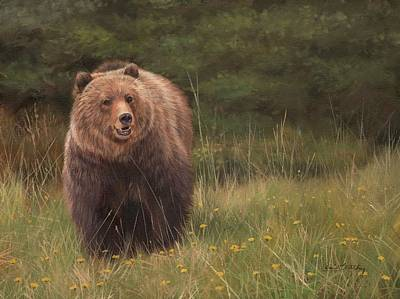 Brown Bear Painting - Grizzly by David Stribbling