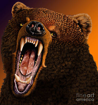 Grizzly Art Print by Jurek Zamoyski