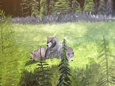 Painting - Grizzly Mom And Babies by Paula Brown