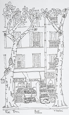Pen And Ink Drawing Photograph - Grocery Store Along Rue Brea, Paris by Richard Lawrence