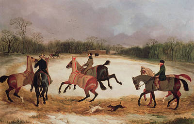 Winter Sports Painting - Grooms Exercising Racehorses  by David of York Dalby