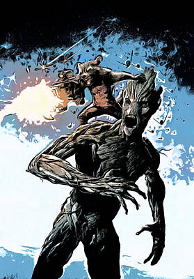 Comics Painting - Groot And Rocket Raccoon by - BaluX -